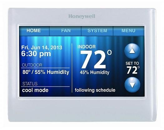 Honeywell smart thermostat main screen