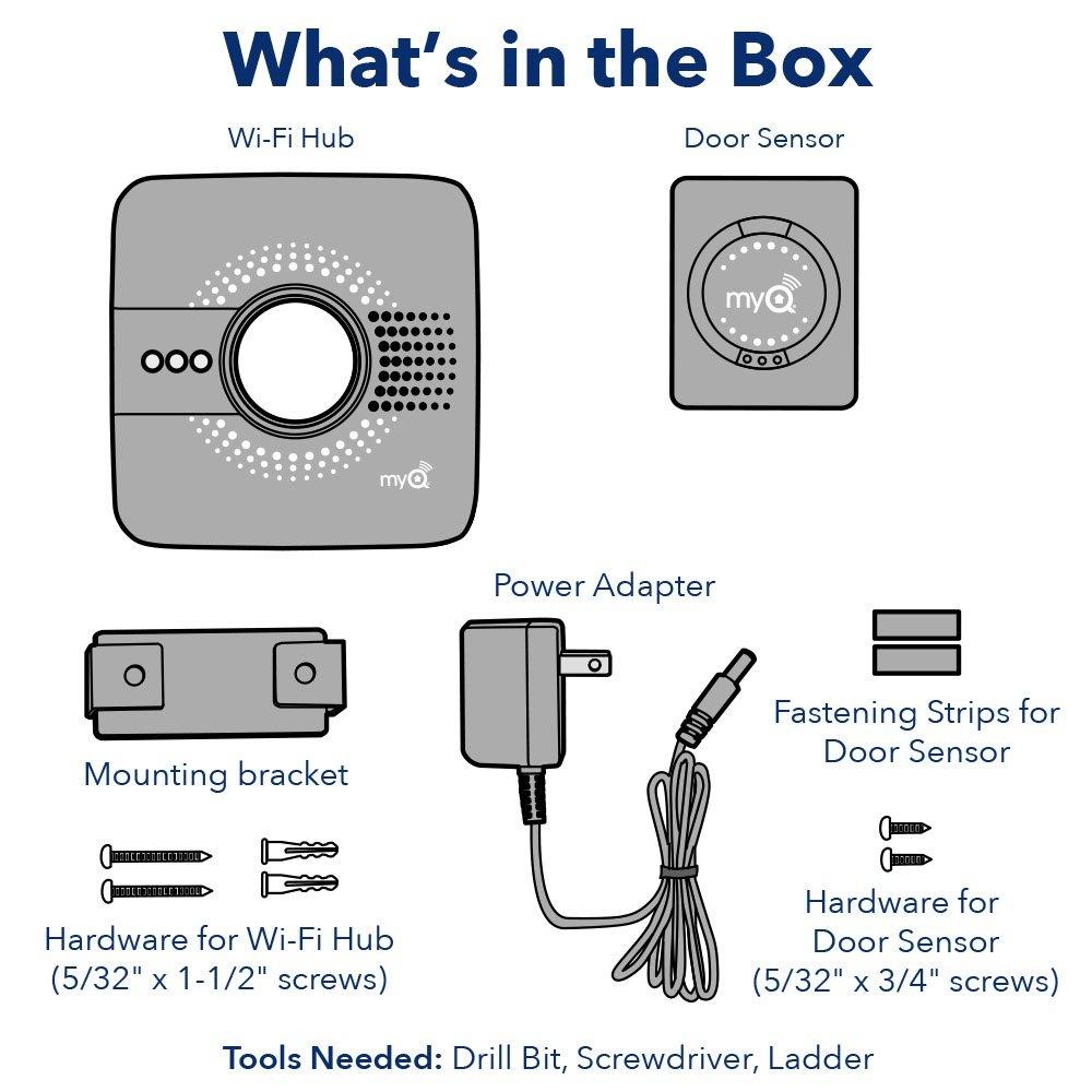 smart garage door opener box contents